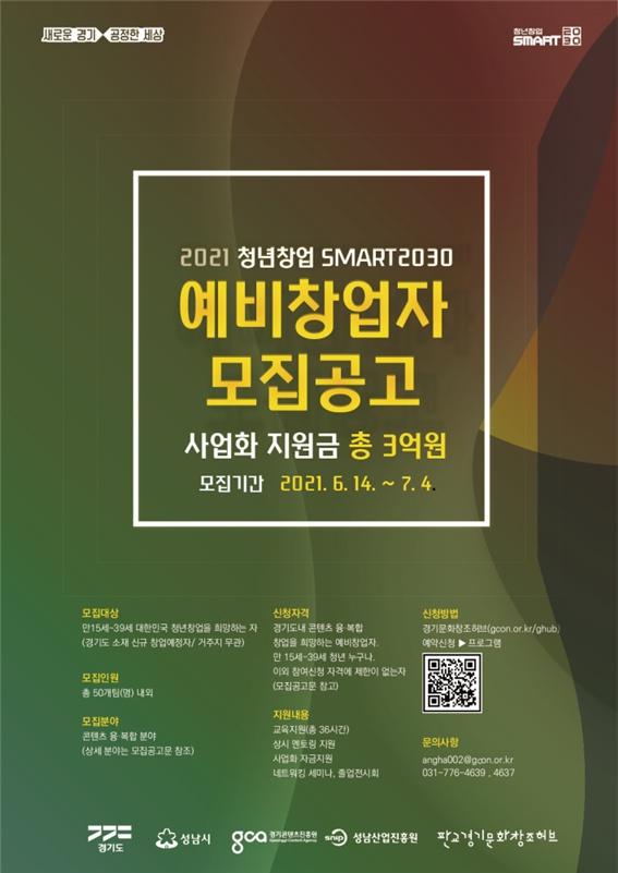 경기콘텐츠진흥원, 제8회 '2021 청년창업 SMART2030' 예비창업가 모집… 창업자금 총 3억 원 지원(2021.06.28.)에 관한 사진